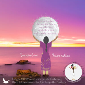 Pass The Feather, Dawn, Haudenosaunee, artist, feathers, graphic design, web design, smudge feathers, IndigenARTSY, native american arts and crafts, moon time, moon water